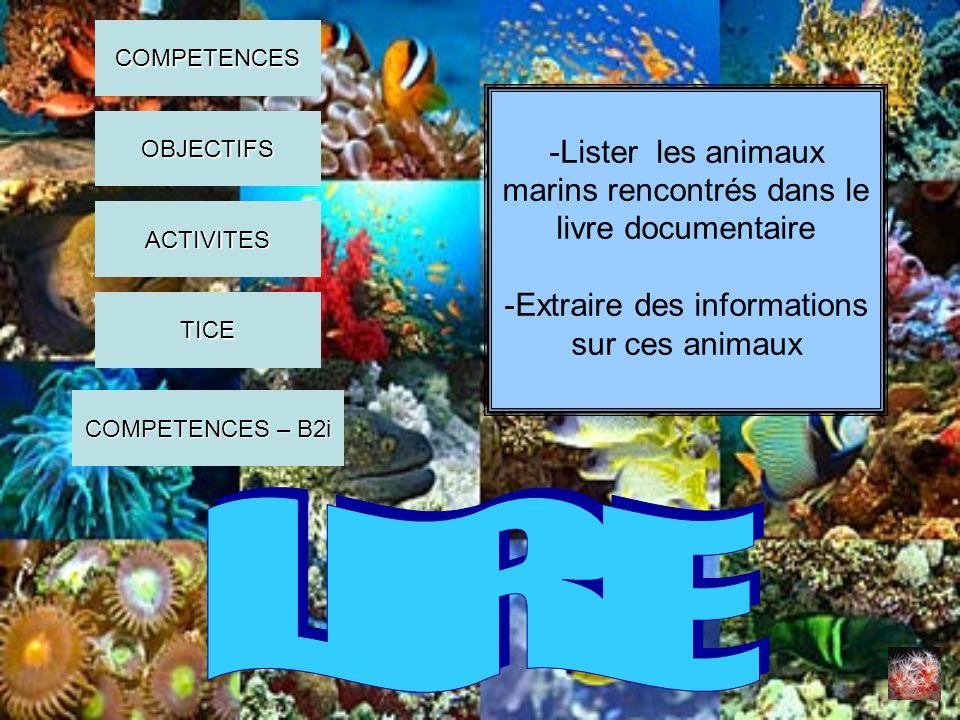 LIRE -Lister les animaux marins rencontrés dans le livre documentaire