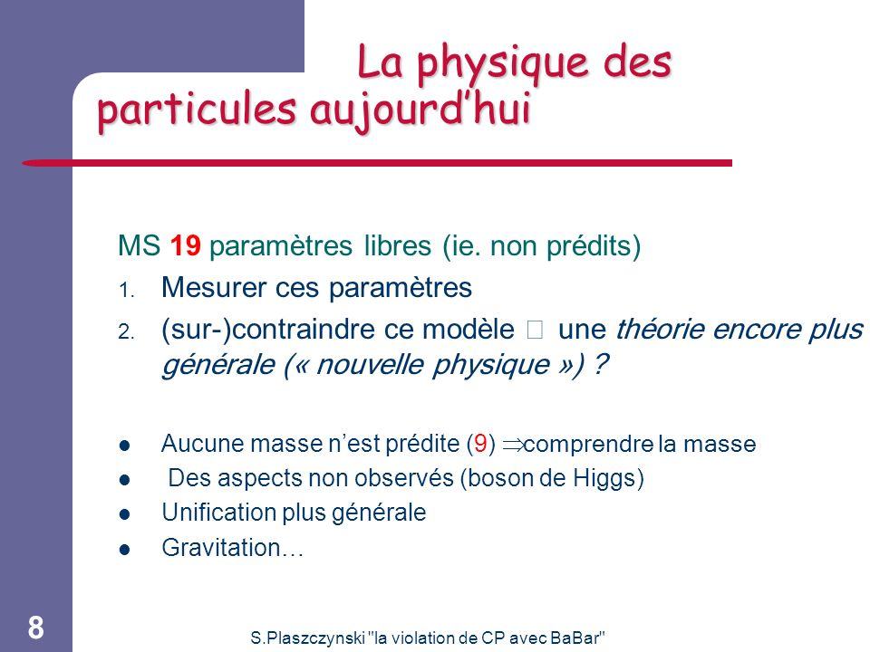 La physique des particules aujourd'hui