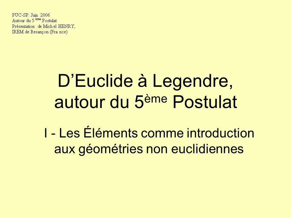 D'Euclide à Legendre, autour du 5ème Postulat