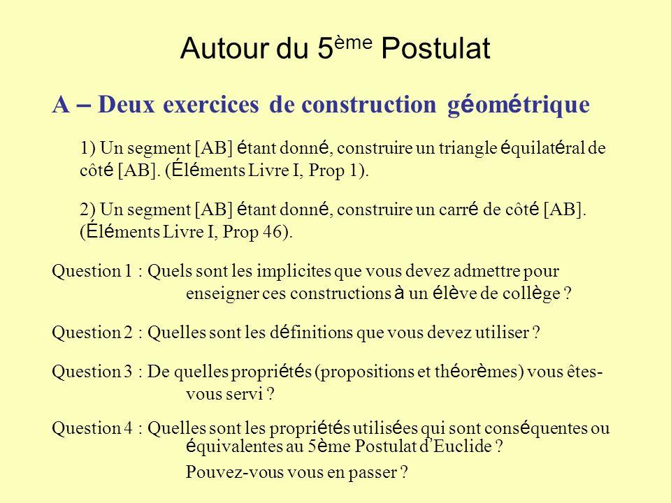 Autour du 5ème Postulat A – Deux exercices de construction géométrique