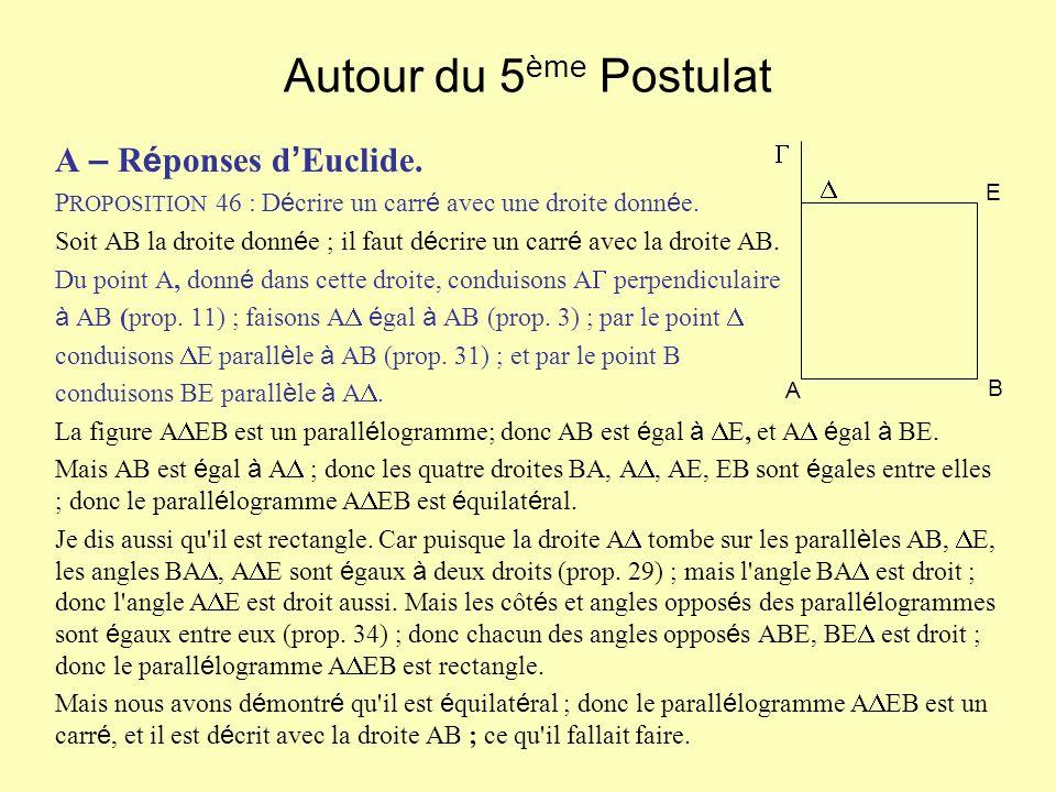 Autour du 5ème Postulat A – Réponses d'Euclide. 