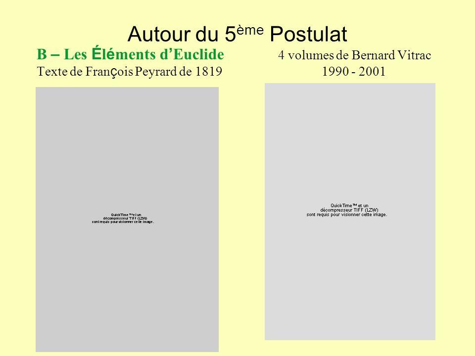 Autour du 5ème Postulat B – Les Éléments d'Euclide 4 volumes de Bernard Vitrac.