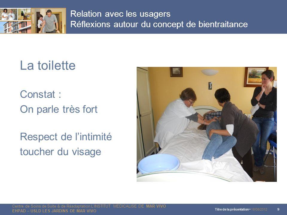 La toilette Constat : On parle très fort Respect de l'intimité