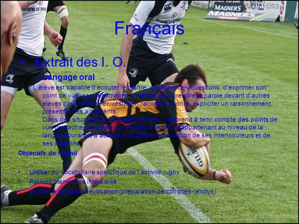 Français Extrait des I. O. Langage oral