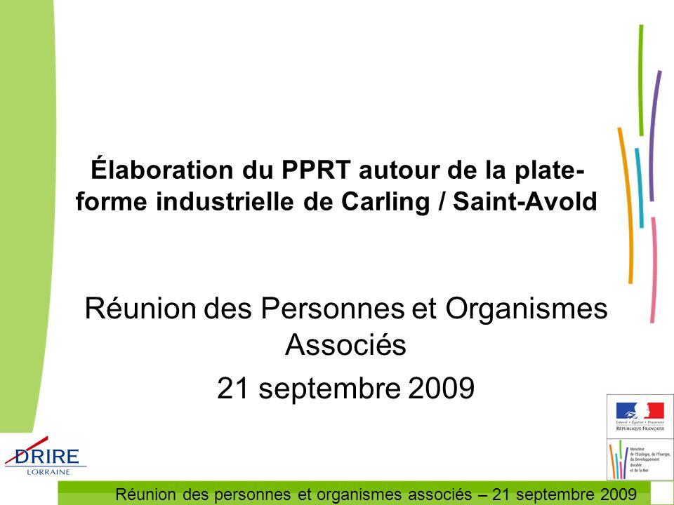 Réunion des Personnes et Organismes Associés 21 septembre 2009