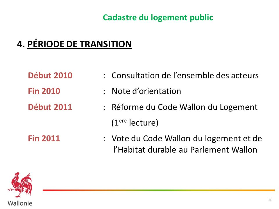 4. PÉRIODE DE TRANSITION Cadastre du logement public