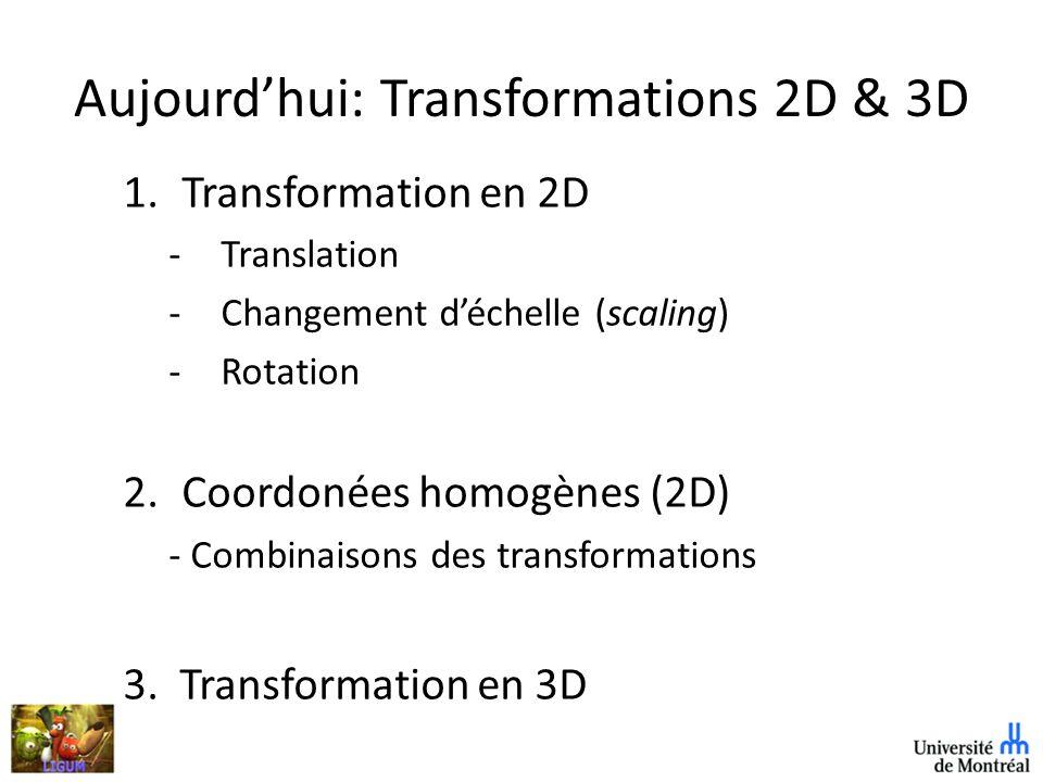 Aujourd'hui: Transformations 2D & 3D