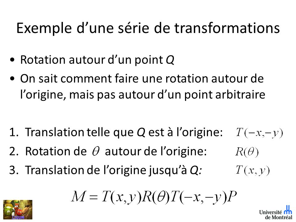 Exemple d'une série de transformations