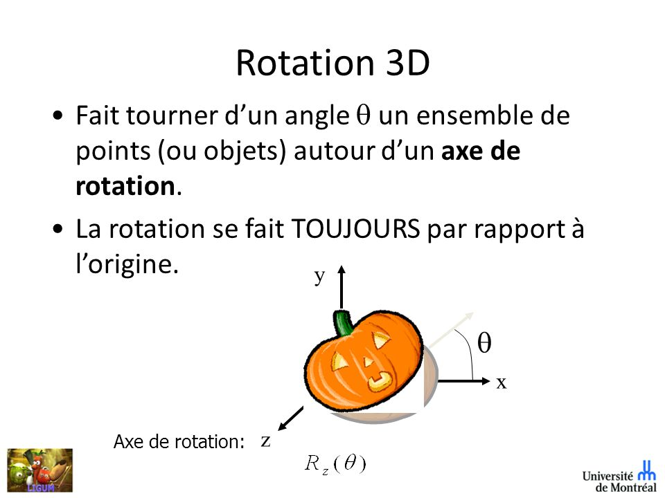 Rotation 3D Fait tourner d'un angle q un ensemble de points (ou objets) autour d'un axe de rotation.