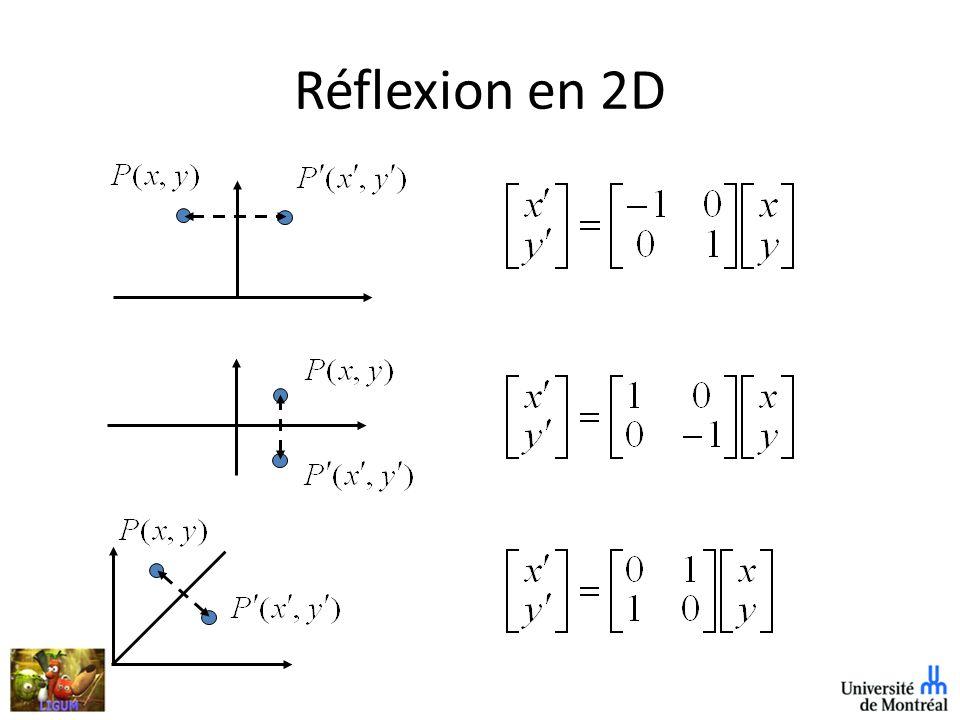 Réflexion en 2D Négation