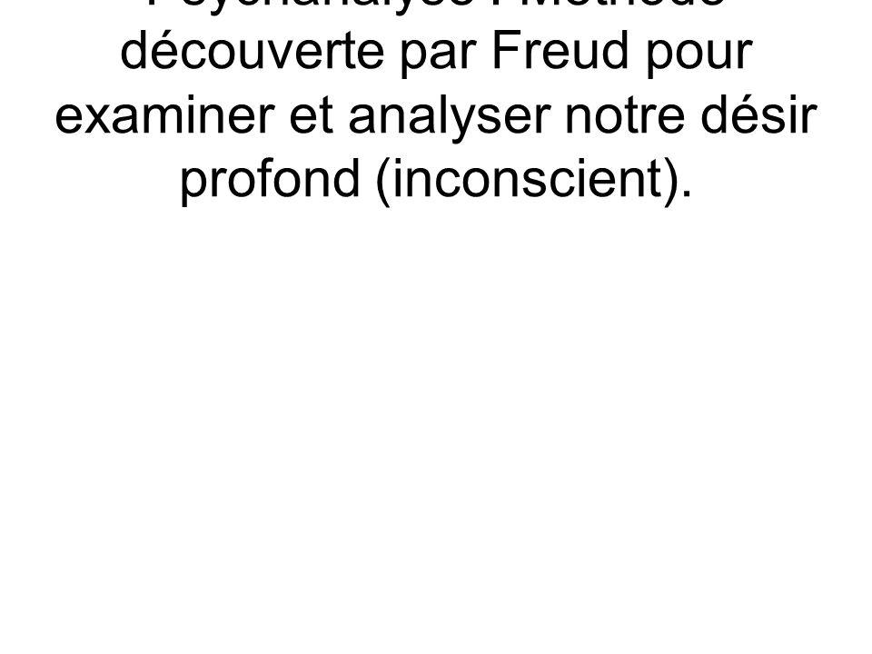 Psychanalyse : Méthode découverte par Freud pour examiner et analyser notre désir profond (inconscient).