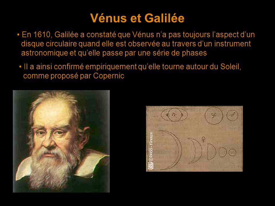Vénus et Galilée • En 1610, Galilée a constaté que Vénus n'a pas toujours l'aspect d'un.
