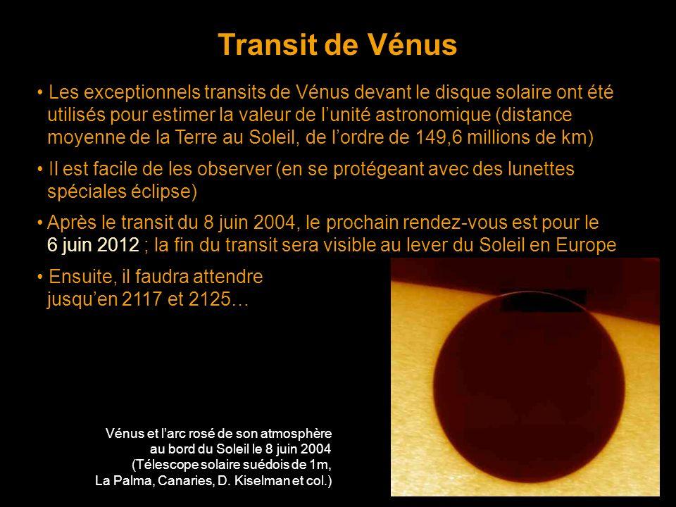 Transit de Vénus • Les exceptionnels transits de Vénus devant le disque solaire ont été.