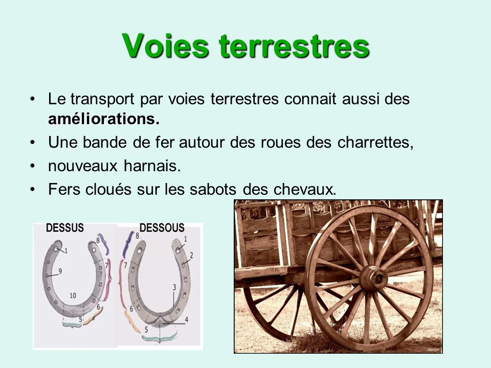 Voies terrestres Le transport par voies terrestres connait aussi des améliorations. Une bande de fer autour des roues des charrettes,