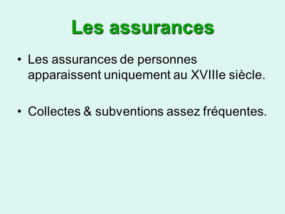 Les assurances Les assurances de personnes apparaissent uniquement au XVIIIe siècle.