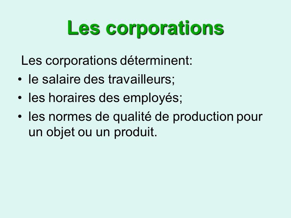 Les corporations Les corporations déterminent: