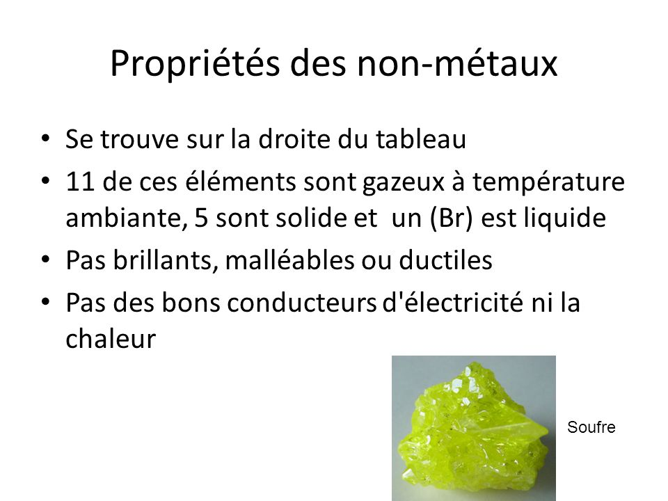 Propriétés des non-métaux