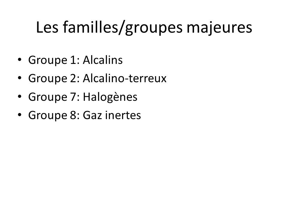 Les familles/groupes majeures