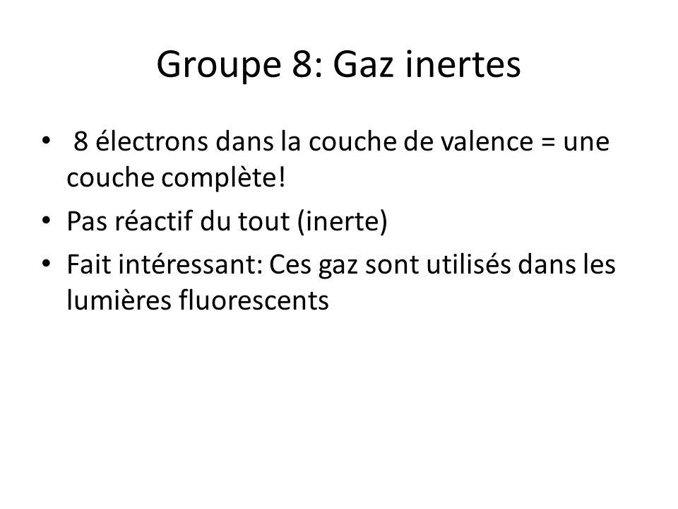 Groupe 8: Gaz inertes 8 électrons dans la couche de valence = une couche complète! Pas réactif du tout (inerte)