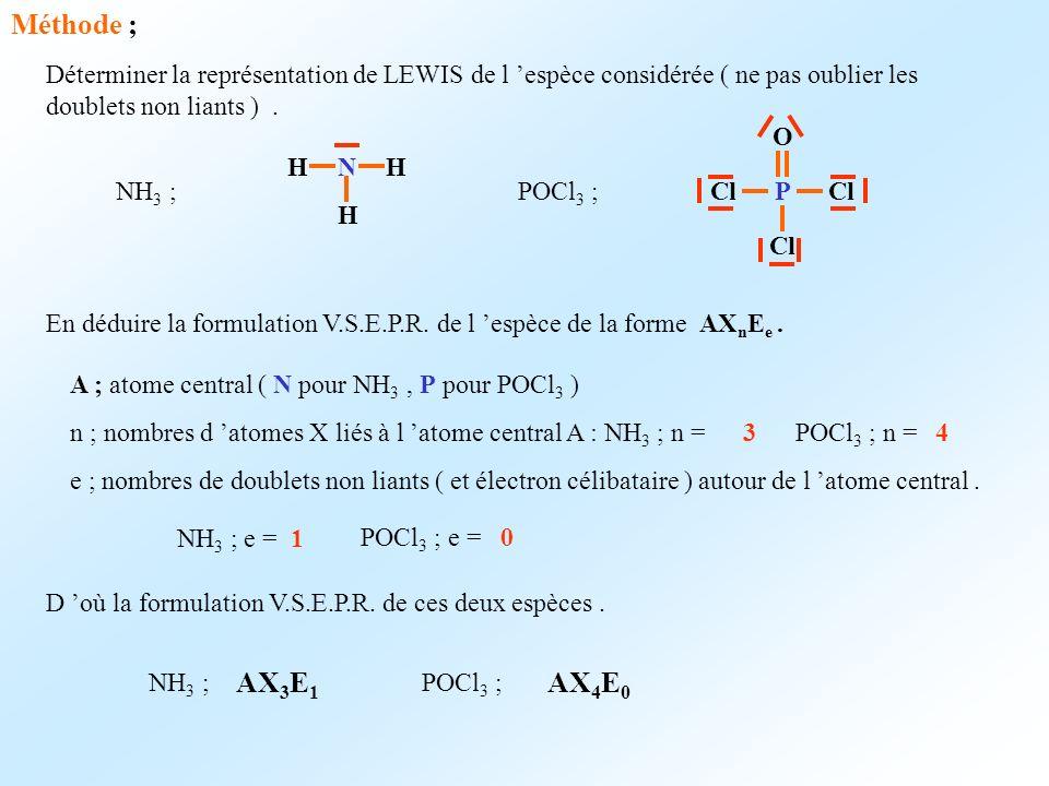 Méthode ; Déterminer la représentation de LEWIS de l 'espèce considérée ( ne pas oublier les doublets non liants ) .