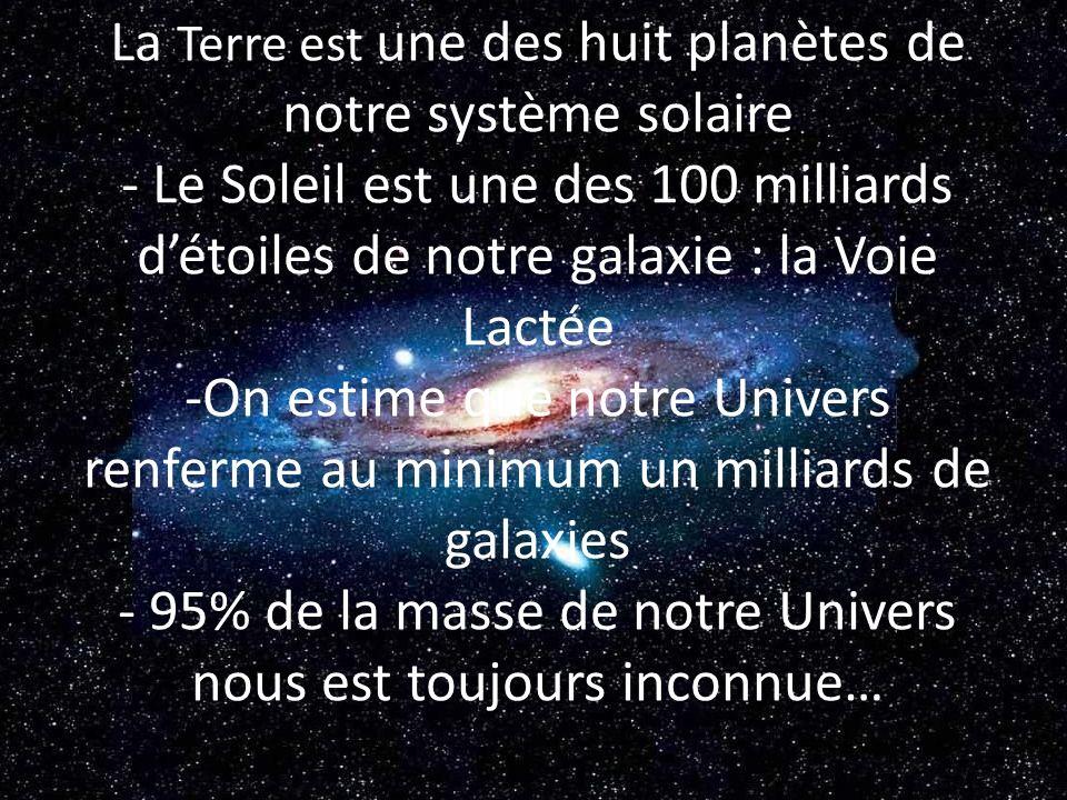 - La Terre est une des huit planètes de notre système solaire - Le Soleil est une des 100 milliards d'étoiles de notre galaxie : la Voie Lactée -On estime que notre Univers renferme au minimum un milliards de galaxies - 95% de la masse de notre Univers nous est toujours inconnue…