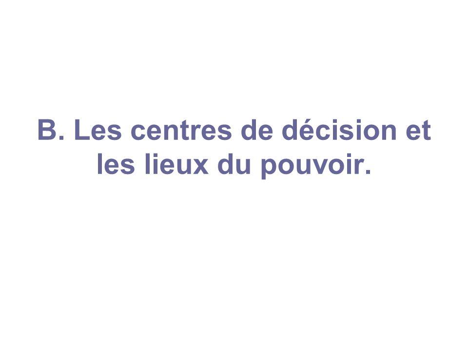 B. Les centres de décision et les lieux du pouvoir.