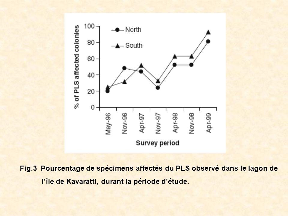 Fig.3 Pourcentage de spécimens affectés du PLS observé dans le lagon de