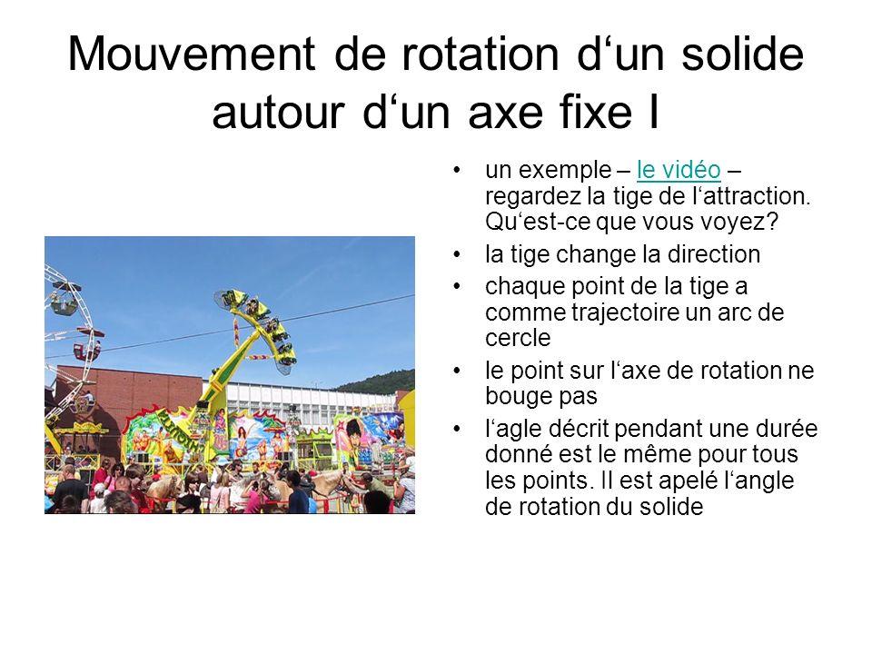 Mouvement de rotation d'un solide autour d'un axe fixe I