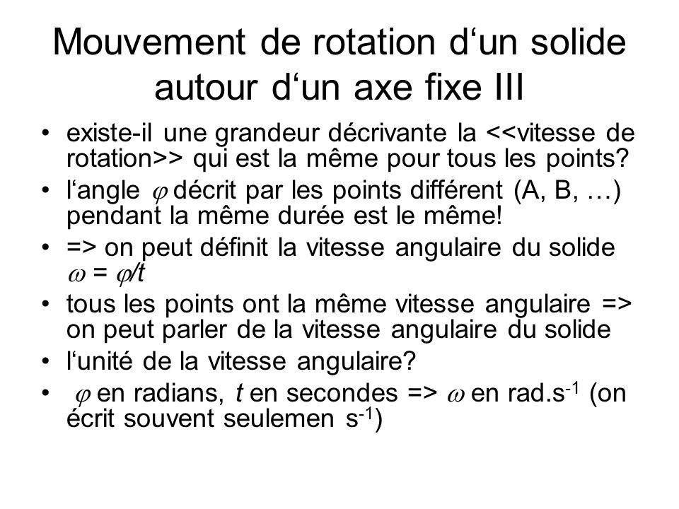 Mouvement de rotation d'un solide autour d'un axe fixe III