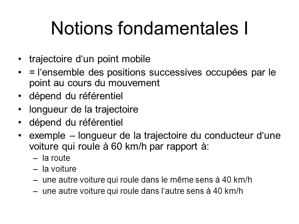 Notions fondamentales I