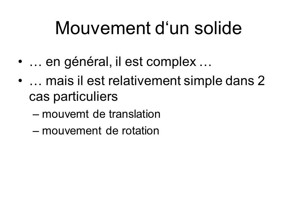 Mouvement d'un solide … en général, il est complex …