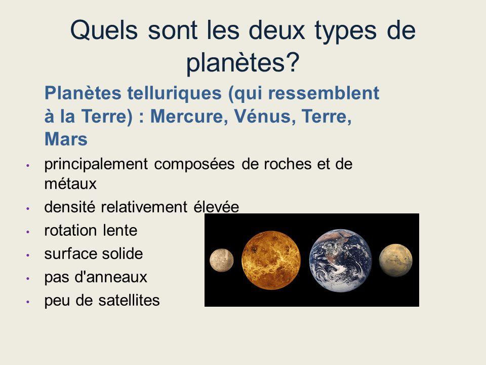 Quels sont les deux types de planètes