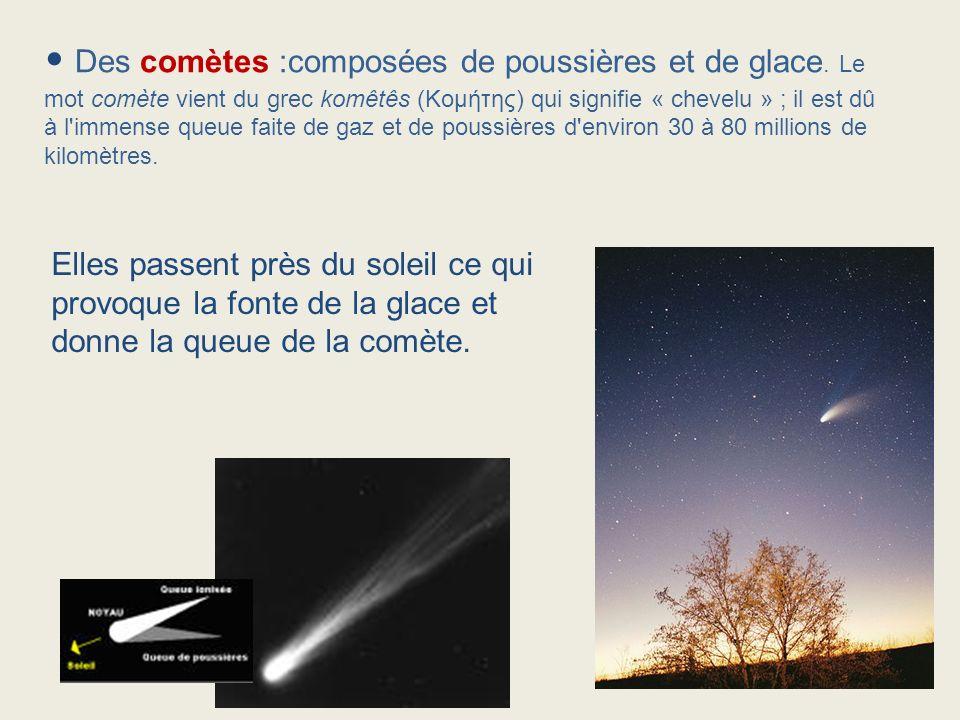 Des comètes :composées de poussières et de glace