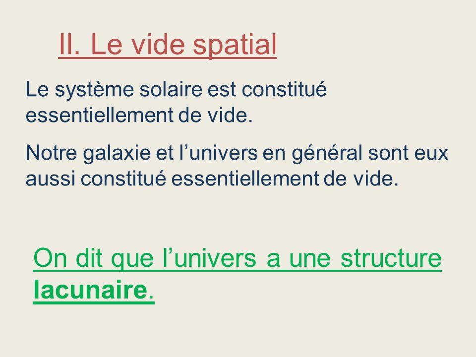 II. Le vide spatial On dit que l'univers a une structure lacunaire.