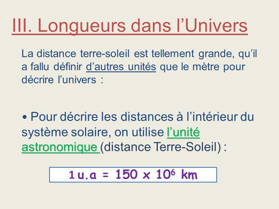 III. Longueurs dans l'Univers