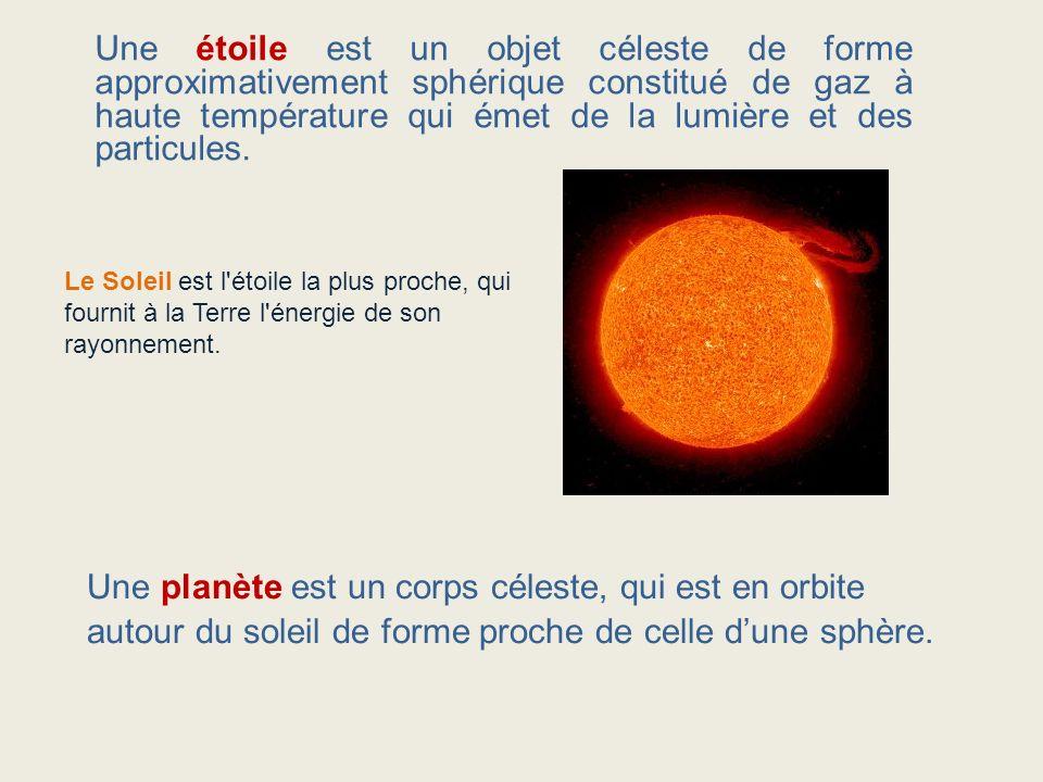 Une étoile est un objet céleste de forme approximativement sphérique constitué de gaz à haute température qui émet de la lumière et des particules.
