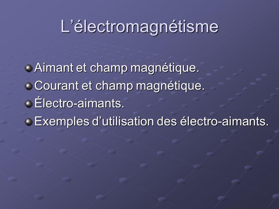 L'électromagnétisme Aimant et champ magnétique.