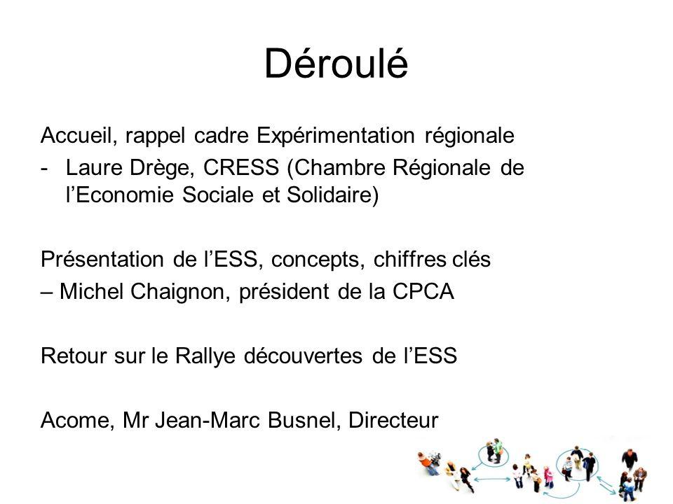 Déroulé Accueil, rappel cadre Expérimentation régionale