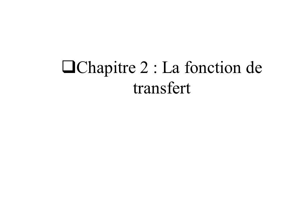 Chapitre 2 : La fonction de transfert