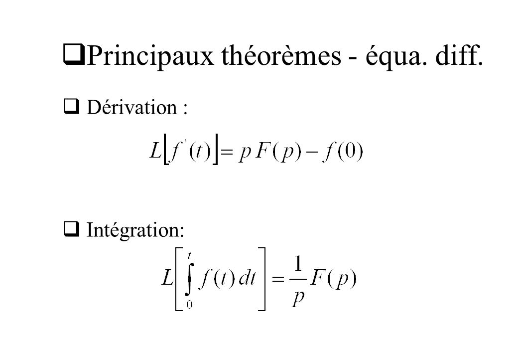 Principaux théorèmes - équa. diff.