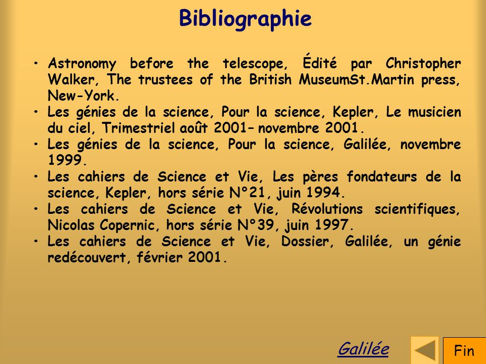 Bibliographie Galilée Fin