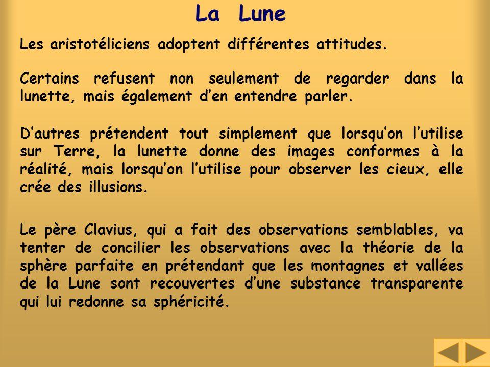 La Lune Les aristotéliciens adoptent différentes attitudes.