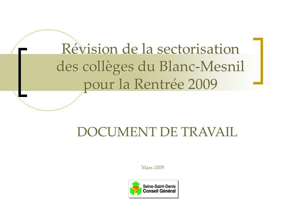 Révision de la sectorisation des collèges du Blanc-Mesnil pour la Rentrée 2009