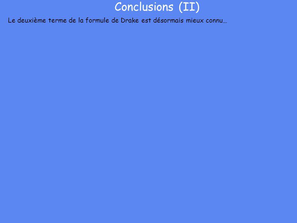 Conclusions (II) Le deuxième terme de la formule de Drake est désormais mieux connu…