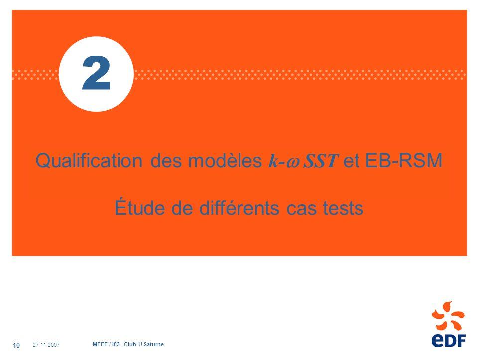 2 Qualification des modèles k- SST et EB-RSM Étude de différents cas tests.