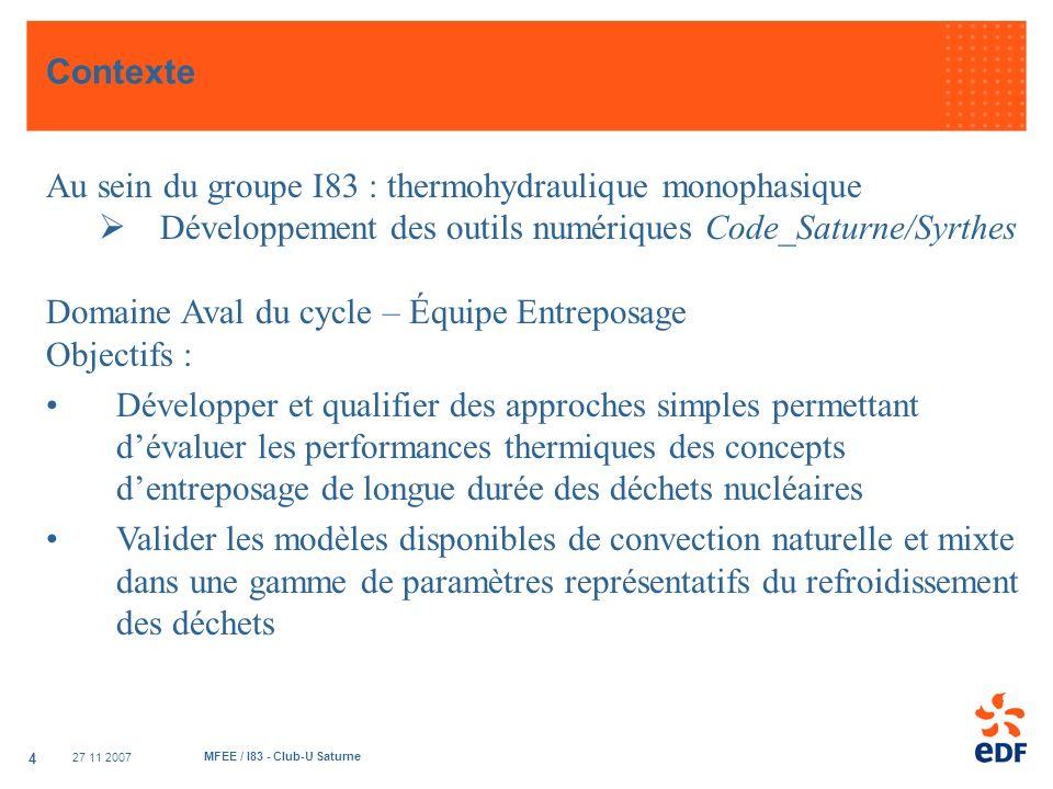 Au sein du groupe I83 : thermohydraulique monophasique
