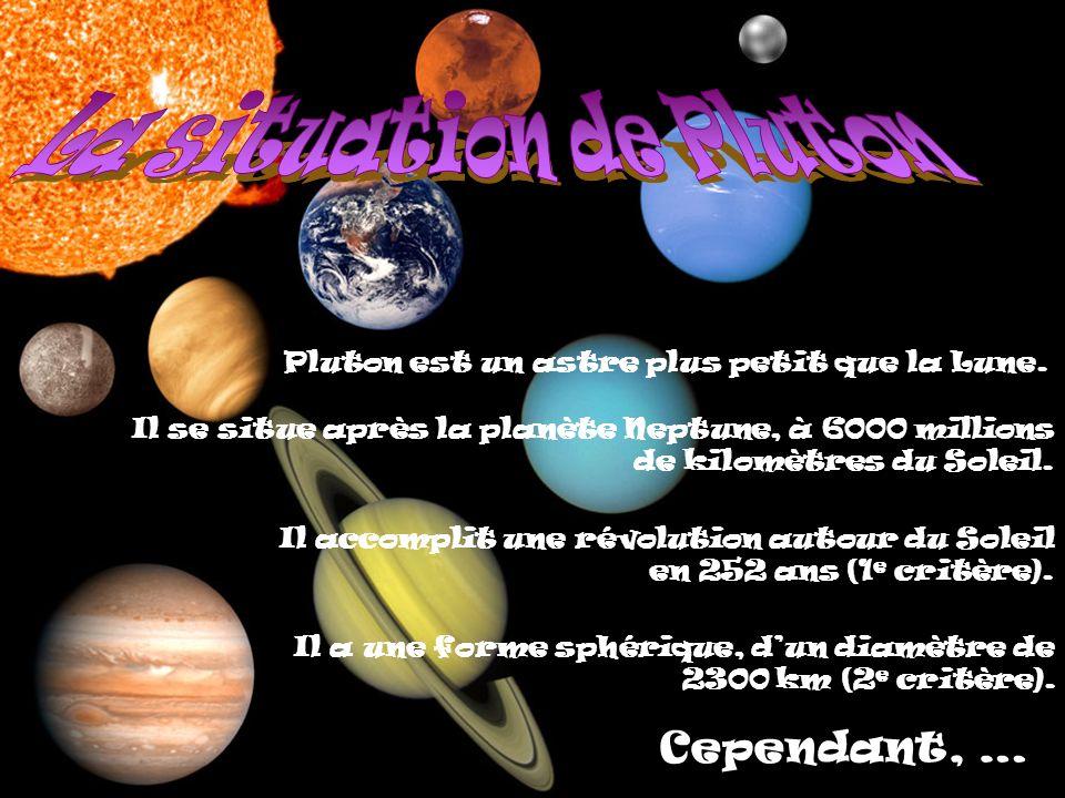 Cependant, … Pluton est un astre plus petit que la Lune.