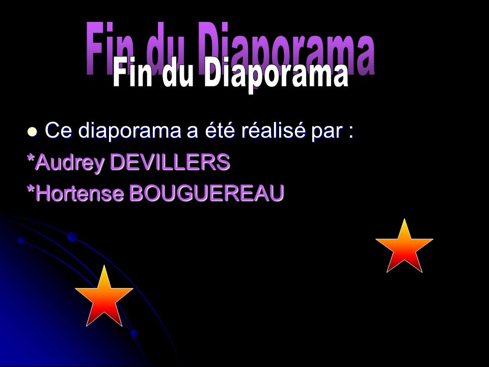 Fin du Diaporama Fin du Diaporama Ce diaporama a été réalisé par :