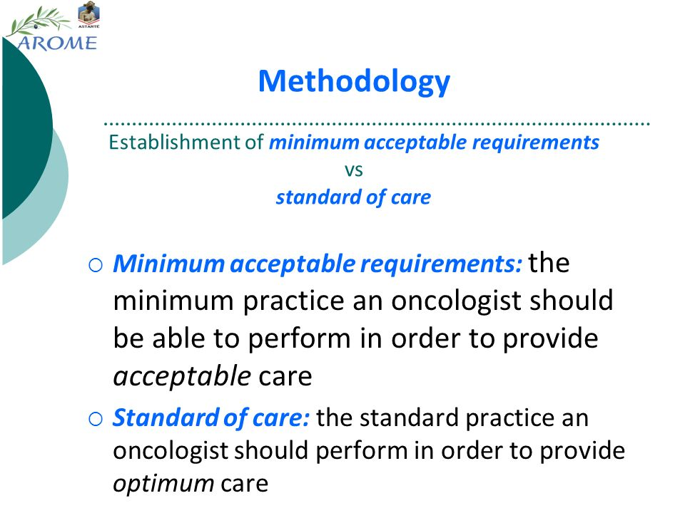 Methodology Establishment of minimum acceptable requirements vs standard of care