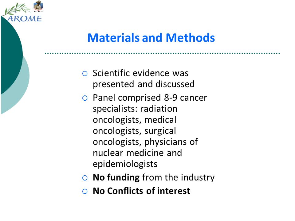 Materials and Methods Scientific evidence was presented and discussed